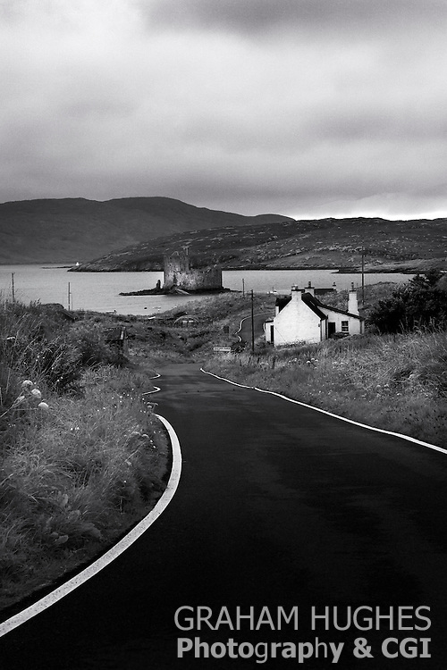 Road To Castebay With Kisimul Castle and Bay. Isle Of Barra, Outer Hebrides, Scotland.