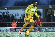 Francois Zoko during the Sky Bet League 2 match between Morecambe and Yeovil Town at the Globe Arena, Morecambe, England on 16 January 2016. Photo by Pete Burns.