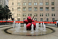 Fountain, Park at 7 WTC, designed by landscape architect Ken Smith, Balloon Flower (Red) by sculptor by Jeff Koons, Manhattan, New York City, New York, USA