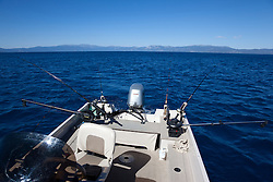 """Fishing Boat on Lake Tahoe 4"" - This fishing boat with many fishing poles was photographed near the West shore of Lake Tahoe, California."
