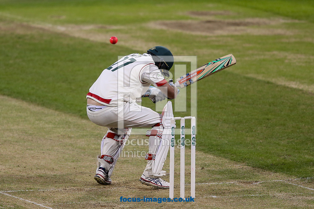 Clint McKay of Leicestershire CCC ducks under a high delivery from bowler Muhammad Azhar Ullah of Northamptonshire CCC (not shown) during the Specsavers County C'ship Div Two match at the County Ground, Northampton<br /> Picture by Andy Kearns/Focus Images Ltd 0781 864 4264<br /> 26/06/2017