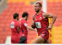 7 June 2013; Queensland Reds captain Quade Cooper during a captain's run ahead of their game against British & Irish Lions on Saturday. British & Irish Lions Tour 2013, Queensland Reds Captain's Run, Suncorp Stadium, Brisbane, Queensland, Australia. Picture credit: Stephen McCarthy / SPORTSFILE