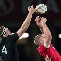 Brodie Retallick takes ball off George Kruis during game 7 of the British and Irish Lions 2017 Tour of New Zealand, the first Test match between  The All Blacks and British and Irish Lions, Eden Park, Auckland, Saturday 24th June 2017<br /> (Photo by Kevin Booth Steve Haag Sports)<br /> <br /> Images for social media must have consent from Steve Haag