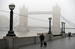 © Licensed to London News Pictures. 01/03/2012. Tower bridge shrouded in Fog. Fog in Central London this morning 2nd March 2012.  Photo credit : Ben Cawthra/LNP