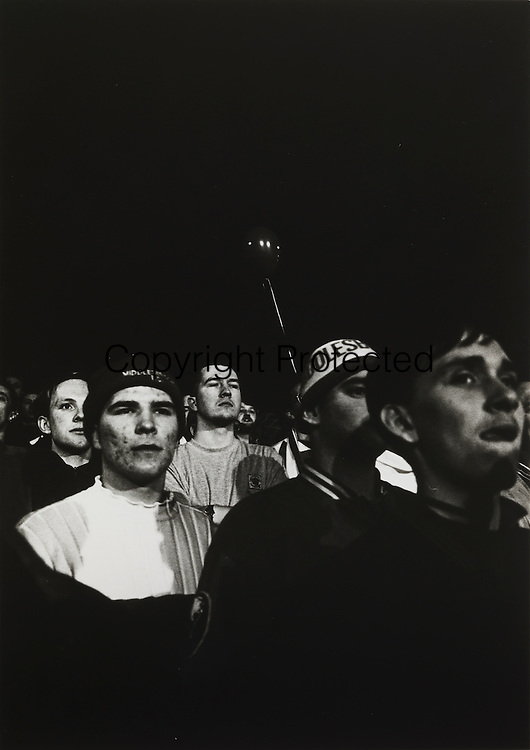 Stony faced fans watching Boro lose 3-2 to Oldham in a Monday night game televised by SKY, March 22nd 1993.