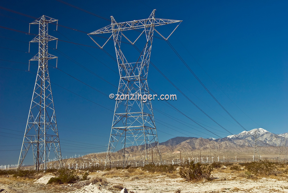 California Palm Springs Wind Turbines, Power Lines, Transition ...