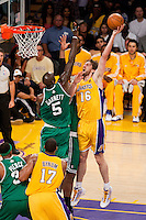 17 June 2010: Forward Pau Gasol of the Los Angeles Lakers shoots the ball over Kevin Garnett of the Boston Celtics during the first half of the Lakers 83-79 championship victory over the Celtics in Game 7 of the NBA Finals at the STAPLES Center in Los Angeles, CA.