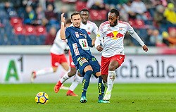 31.03.2018, Red Bull Arena, Salzburg, AUT, 1. FBL, FC Red Bull Salzburg vs RZ Pellets WAC, 28. Runde, im Bild Daniel Offenbacher (RZ Pellets WAC), Reinhold Yabo (FC Red Bull Salzburg) // during Austrian Football Bundesliga 28th round Match between FC Red Bull Salzburg and RZ Pellets WAC at the Red Bull Arena, Salzburg, Austria on 2018/03/31. EXPA Pictures © 2018, PhotoCredit: EXPA/ JFK