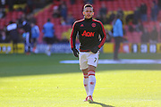Memphis Depay of Manchester United in the warm up during the Barclays Premier League match between Watford and Manchester United at Vicarage Road, Watford, England on 21 November 2015. Photo by Phil Duncan.