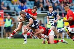 Bristol Rugby Flanker Nick Koster is tackled by London Welsh Inside Centre Olly Barkley - Mandatory byline: Rogan Thomson/JMP - 07966 386802 - 13/09/2015 - RUGBY UNION - Old Deer Park - Richmond, London, England - London Welsh v Bristol Rugby - Greene King IPA Championship.