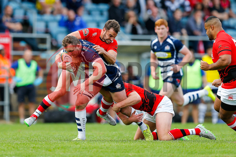 Bristol Rugby Flanker Nick Koster is tackled by London Welsh Inside Centre Olly Barkley - Mandatory byline: Rogan Thomson/JMP - 07966 386802 - 13/09/2015 - RUGBY UNION - Old Deer Park - Richmond, London, England - London Welsh v Bristol Rugby - Greene King IPA Championship.