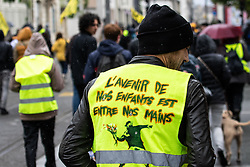 May 4, 2019 - Bordeaux, nouvelle aquitaine, France - People take part in a demonstration called by the Yellow vest (Gilets jaunes) movement on May 4, 2019 in Bordeaux during the 25th consecutive saturday of nationwide protests against French President's policies and top-down style of governing, high cost of living, government tax reforms and for more ''social and economic justice. (Credit Image: © Jerome Gilles/NurPhoto via ZUMA Press)