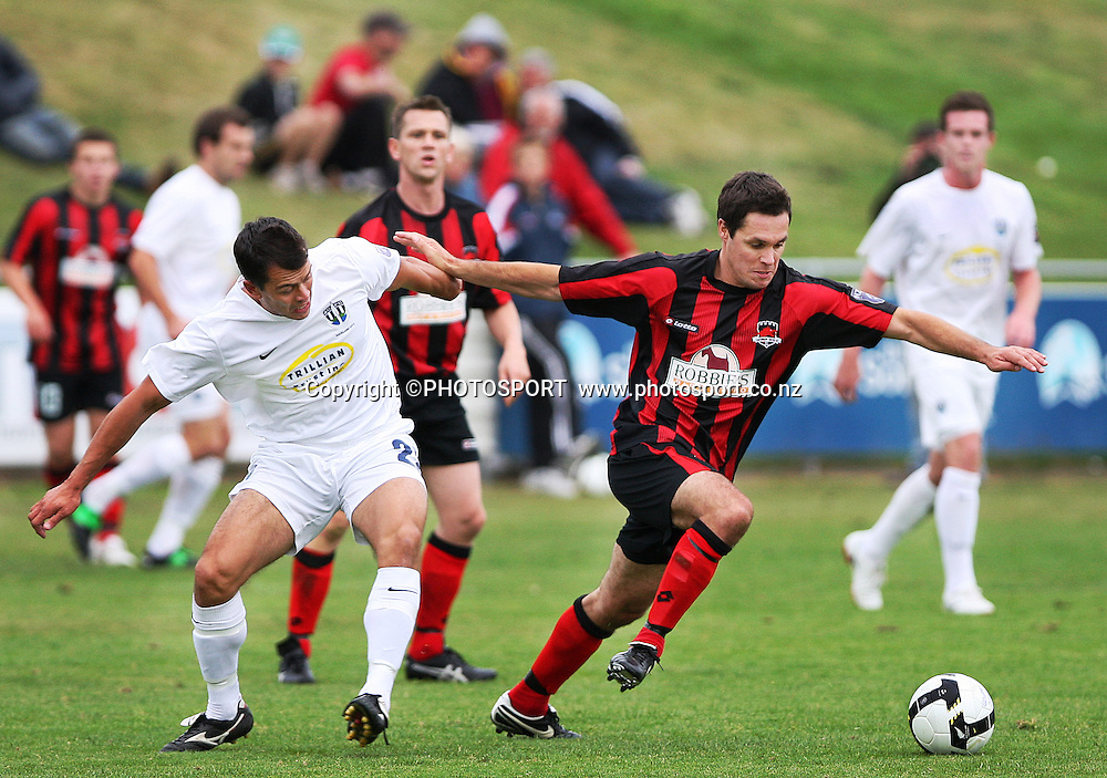 Auckland's Adam Dickson and Glen Collis compete for the ball. NZFC, Canterbury United v Auckland Semifinal at English Park, Christchurch, Sunday 4 March 2010. Photo : Joseph Johnson/PHOTOSPORT