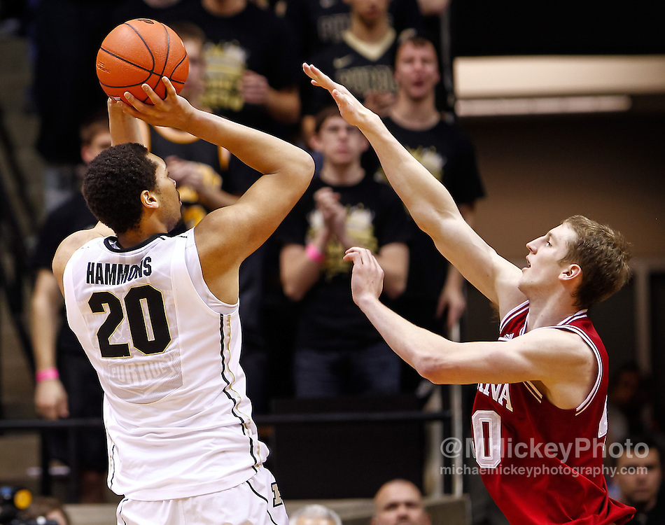 WEST LAFAYETTE, IN - JANUARY 30: A.J. Hammons #20 of the Purdue Boilermakers shoots the ball against Cody Zeller #40 of the Indiana Hoosiers at Mackey Arena on January 30, 2013 in West Lafayette, Indiana. Indiana defeated Purdue 97-60. (Photo by Michael Hickey/Getty Images) *** Local Caption *** A.J. Hammons; Cody Zeller