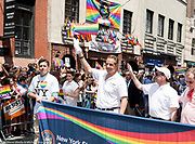 New York Governor Andrew Cuomo in front of the Stonewall Inn at the Pride March in New York City, New York on June 25, 2017.
