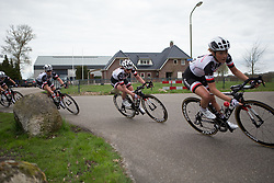 Liane Lippert (GER) of Team Sunweb leans into a corner during the last lap of Stage 4 of the Healthy Ageing Tour - a 126.6 km road race, starting and finishing in Finsterwolde on April 8, 2017, in Groeningen, Netherlands.