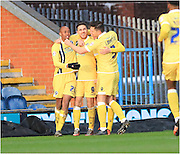 Lee Gregory Goal Celebration during the Sky Bet League 1 match between Rochdale and Millwall at Spotland, Rochdale, England on 13 February 2016. Photo by Daniel Youngs.