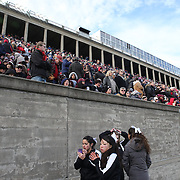 Harvard cheerleaders prepare themselves for action during the Harvard Vs Yale, College Football, Ivy League deciding game, Harvard Stadium, Boston, Massachusetts, USA. 22nd November 2014. Photo Tim Clayton