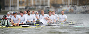 Putney, GREAT BRITAIN,   Cambridge racing on the Hammersmith Bend, 5. Deaglan McEACHERN, catches a crab and fights to regain the oar, during the 2009 Pre Boat Race Fixture,  Cambridge [CUBC] vs Leander Club, raced over part of the 'Championship Course' Putney to Mortlake, on the River Thames, Fri. 13.03.2009. [Mandatory Credit, Peter Spurrier / Intersport-images Crew left o right Cox Rebbeca DOWBIGGIN. Stroke , Silas STAFFORD, 7. Ryan MONOGHAN, 6. Hardy CUBASCH, 5. Deaglan McEACHERN, 4. Pete MARSLAND, 3. George NASH, 2. henry PELLY, Bow. Rob WEITEMEYER.