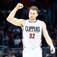 12 December 2016: LA Clippers forward Blake Griffin (32) celebrates during the LA Clippers 121-120 victory over the Portland Trail Blazers, at the Staples Center, Los Angeles, California, USA.