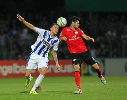 08.08.2015, Stadion an der Kreuzeiche, Reutlingen, GER, DFB Pokal, SSV Reutlingen 05 vs Karlsruher SC, im Bild Bjarne Thoelke ( Karlsruher SC ) rechts Daniel Schachtschneider ( SSV Reutlingen 1905 Fussball ) // during German DFB Pokal first round match between SSV Reutlingen 05 and Karlsruher SC at the Stadion an der Kreuzeiche in Reutlingen, Germany on 2015/08/08. EXPA Pictures © 2015, PhotoCredit: EXPA/ Eibner-Pressefoto/ Langer<br /> <br /> *****ATTENTION - OUT of GER*****