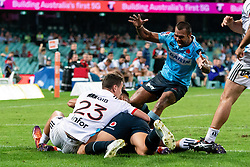 March 23, 2019 - Sydney, NSW, U.S. - SYDNEY, NSW - MARCH 23: Waratahs player Kurtley Beale (12) runs in to congratulate Waratahs player Israel Folau (15) on his try at round 6 of Super Rugby between NSW Waratahs and Crusaders on March 23, 2019 at The Sydney Cricket Ground, NSW. (Photo by Speed Media/Icon Sportswire) (Credit Image: © Speed Media/Icon SMI via ZUMA Press)