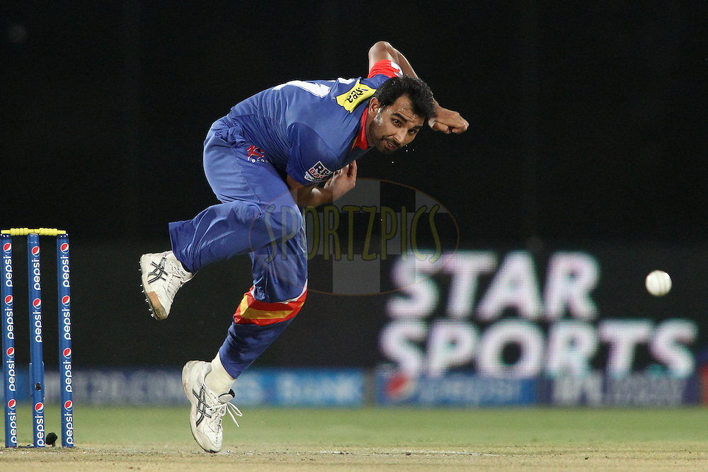 Mohammad Shami of the Delhi Daredevils sends down a delivery during match 23 of the Pepsi Indian Premier League Season 2014 between the Delhi Daredevils and the Rajasthan Royals held at the Feroze Shah Kotla cricket stadium, Delhi, India on the 3rd May  2014<br /> <br /> Photo by Shaun Roy / IPL / SPORTZPICS<br /> <br /> <br /> <br /> Image use subject to terms and conditions which can be found here:  http://sportzpics.photoshelter.com/gallery/Pepsi-IPL-Image-terms-and-conditions/G00004VW1IVJ.gB0/C0000TScjhBM6ikg