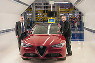 CASSINO, ITALY - NOVEMBER 24: Sergio Marchionne, chief executive officer of Fiat Chrysler Automobiles NV and Alfredo Altavilla, chief operating officer for EMEA FCA with the new Alfa Giulia, during the visit to the factory Alfa Romeo in Piedimonte San Germano on November 24, 2016 in Cassino, Italy.
