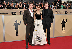Dacre Montgomery, Natalia Dyer, Joe Keery arrives at the 24th annual Screen Actors Guild Awards at The Shrine Exposition Center on January 21, 2018 in Los Angeles, California. <br />