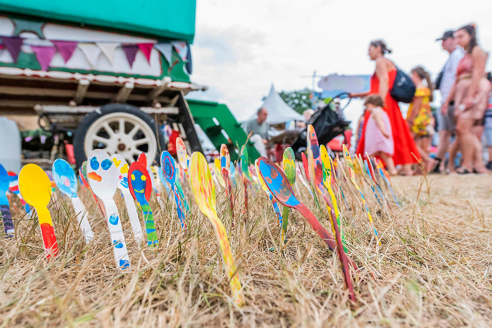 Henham Park, Suffolk, 21 July 2019. Spoon art in teh childrens area. The 2019 Latitude Festival.