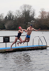 Members of the Serpentine Swimming Club brave the cold for an early morning swim, Jessie Booth and Giles Burnfield take the plunge, London, UK, 25 March, 2013. Photo by: i-Images..