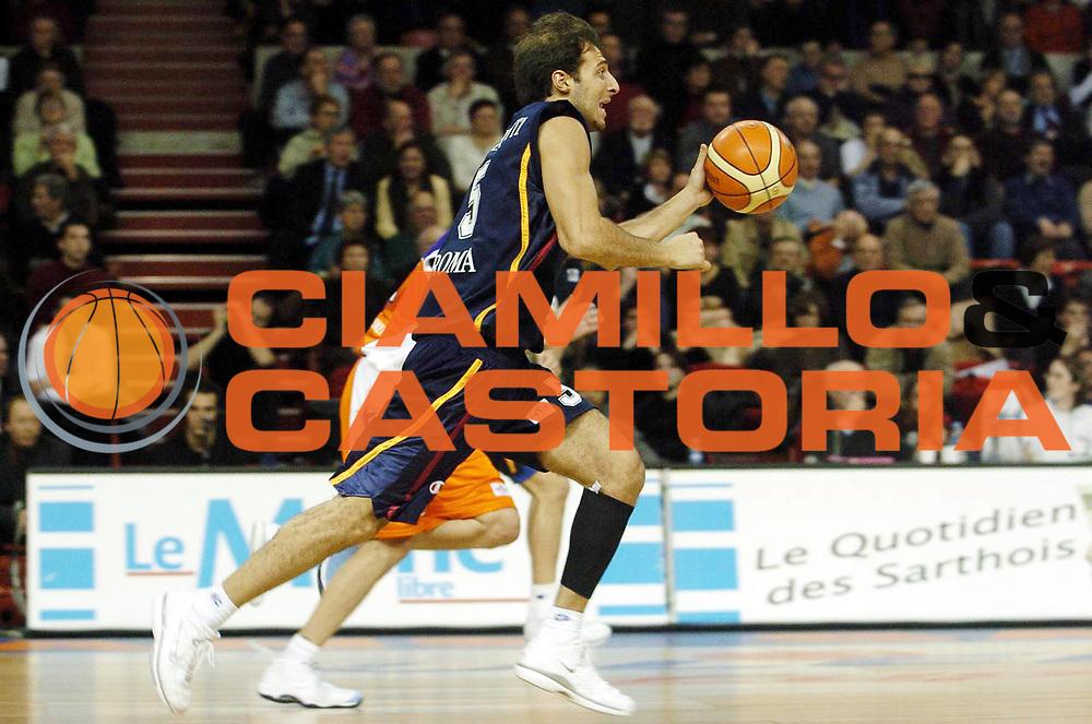 DESCRIZIONE : Le Mans Uleb Cup 2005-06 Le Mans Sarthe Basket Lottomatica Virtus Roma<br /> GIOCATORE : Giachetti<br /> SQUADRA : Lottomatica Virtus Roma<br /> EVENTO : Uleb Cup 2005-2006<br /> GARA : Le Mans Sarthe Basket Lottomatica Virtus Roma<br /> DATA : 17/01/2006<br /> CATEGORIA : Palleggio<br /> SPORT : Pallacanestro<br /> AUTORE : Agenzia Ciamillo&amp;Castoria/P.Allee<br /> Galleria : Uleb Cup 2005-2006<br /> Fotonotizia : Le Mans Uleb Cup 2005-06 Le Mans Sarthe Basket Lottomatica Virtus Roma<br /> Predefinita :