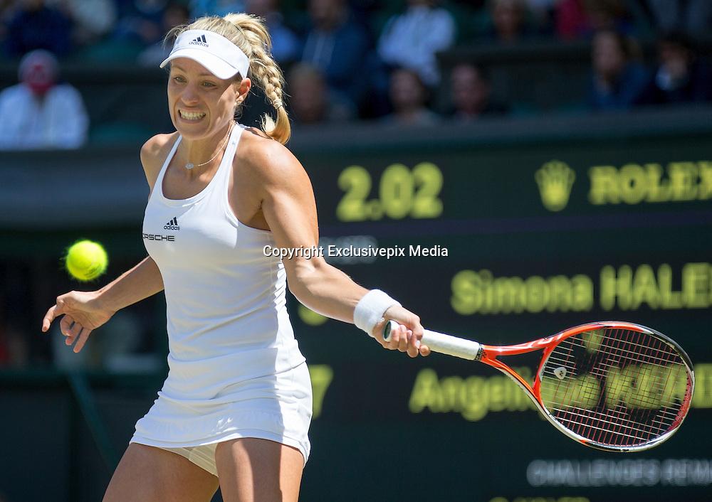 WIMBLEDON - GB -  5th July 2016: The Wimbledon Tennis Championship continues at the All England Lawn Tennis Club in S.E. London.<br /> <br /> Simona Halep (ROU) vs Angelique KERBER (Ger). <br /> &copy;Ian Jones/Exclusivepix Media<br /> <br /> <br /> <br /> Pictured: Angelique KERBER (Ger). Winner.