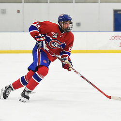 TORONTO, ON - SEP 18,  2016: Ontario Junior Hockey League game between Buffalo and Toronto, Jack McBain #19 of the Toronto Jr. Canadiens pursues the play during the third period.<br /> (Photo by Andy Cornea / OJHL Images)