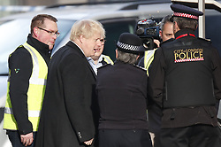 © Licensed to London News Pictures. 30/11/2019. London, UK. Prime Minister Boris Johnson visits the scene near London Bridge the day after a terrorist attack. Two people were killed and three injured after the attacker, named by police as 28-year-old Usman Khan stabbed a man and a woman to death on London Bridge. Photo credit: Peter Macdiarmid/LNP