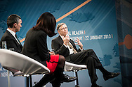 Bill Gates during discussion about international health with Norwegian PM Jens Stoltenberg at Astrup Fearnley Museum in Oslo.