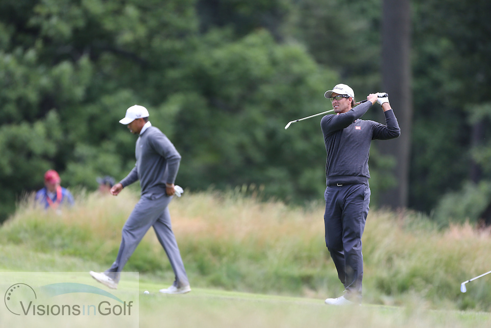 Tiger Woods Rory McIlroy Adam Scott<br /> on the second day at the US Open Championship, Merion East, PA. USA 2013 <br /> Picture Credit:  Mark Newcombe / visionsingolf.com