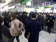Rush hour crowds at the Shibuya train station