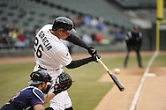 CHICAGO - APRIL 03:  Avisail Garcia of the Chicago White Sox bats against the Kansas City Royals on April 3, 2014 at U.S. Cellular Field in Chicago, Illinois.  (Photo by Ron Vesely)