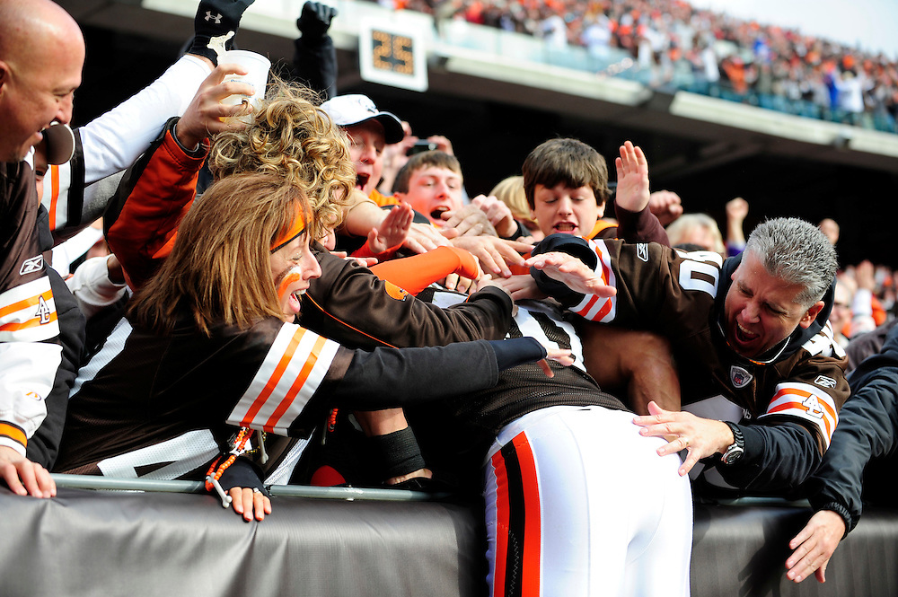 Nov. 14, 2010; Cleveland, OH, USA; Cleveland Browns running back Peyton Hillis (40) jumps into the stands after scoring a touchdown during the first quarter against New York Jets at Cleveland Browns Stadium. Mandatory Credit: Jason Miller-US PRESSWIRE