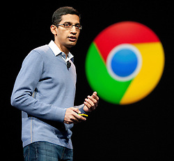 Google SVP of Chrome Sundar Pichai, introduces new products and improvements for Chrome during the Google I/O Developer Conference in San Francisco, California.