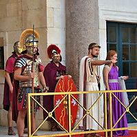 Roman Emperor Surrounded by Soldiers Near Vestibule in Split, Croatia <br />