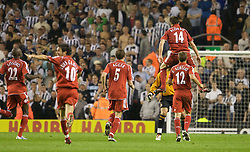 LIVERPOOL, ENGLAND - WEDNESDAY, SEPTEMBER 20th, 2006: Liverpool's Xabi Alonso celebrates scoring from inside his own half against Newcastle United during the Premiership match at Anfield. (Pic by David Rawcliffe/Propaganda)