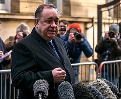 Pictured: Alex Salmond at court . Alex Salmond, former First Minister, leaves Edinburgh Sheriff Court after being charged with sexual assault.. 24 January 2019  <br /> <br /> Sally Anderson | EdinburghElitemedia.co.uk