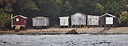 Boat Shacks, Ulva Island, New Zealand (8x22 inch print)