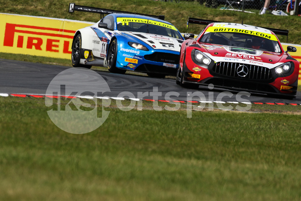 AmD Tuning.com Mercedes AMG GT3 with drivers Lee Mowle & Ryan Ratcliffe ahead of TF Sport Aston Martin Vantage GT3 with drivers Mark Farmer & Jon Barnes during the British GT And BRDC British F3 Championships at the Snetterton Circuit, Norwich, England on 28 May 2017. Photo by Jurek Biegus.