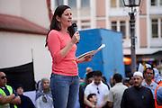 Frankfurt am Main | 26 July 2014<br /> <br /> Am Samstag (26.07.2014) demonstrierten etwa 500 Menschen auf dem R&ouml;merberg in Frankfurt am Main f&uuml;r Frieden in Pal&auml;stina / Gaza und f&uuml;r ein sofortiges Ende der israelischen Milit&auml;reins&auml;tze dort.<br /> Hier: Janine Wissler (Linkspartei, Die Linke) h&auml;lt eine Rede.<br /> <br /> &copy;peter-juelich.com<br /> <br /> FOTO HONORARPFLICHTIG!<br /> <br /> [No Model Release | No Property Release]