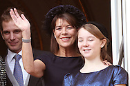 Monaco, Monaco - NOVEMBER 19: Andrea Casiraghi, Princess Caroline of Hanover and Princess Alexandra attend the National Day Parade as part of Monaco National Day Celebrations on November 19, 2011 in Monaco.(Photo by Tony Barson/BARSONIMAGES)