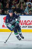 KELOWNA, CANADA - APRIL 26: Austin Strand #2 of the Seattle Thunderbirds skates with the puck against the Seattle Thunderbirds on April 26, 2017 at Prospera Place in Kelowna, British Columbia, Canada.  (Photo by Marissa Baecker/Shoot the Breeze)  *** Local Caption ***