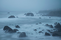 Foggy Evening at Arched Rock Beach, Sonoma Coast SB, California<br /> <br /> Backstory:<br /> The most interesting weather to photograph is often the most uncomfortable. Wet, foggy and windy. If I had a choice between sunny cloudless skies and dreary overcast weather I'd pick overcast almost every time.<br /> <br /> Year Photographed: 2016